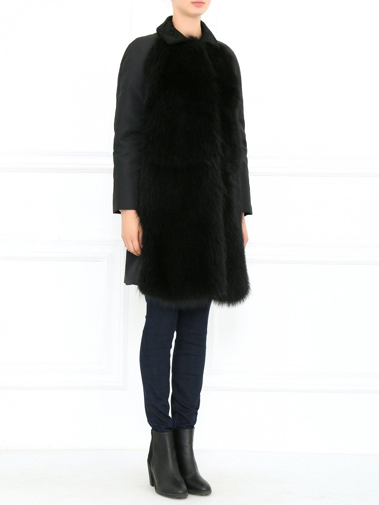 Пальто с отделкой из меха енота Giambattista Valli  –  Модель Общий вид  – Цвет:  Черный