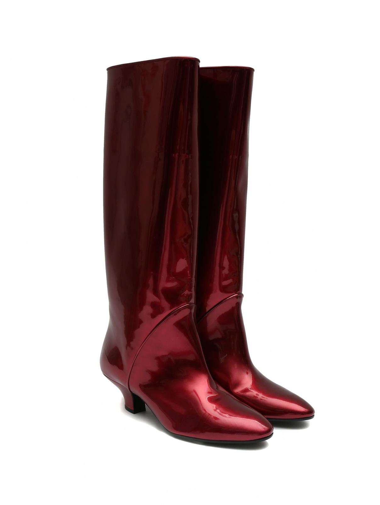 Сапоги из лаковой кожи на среднем каблуке Marc Jacobs  –  Общий вид  – Цвет:  Красный