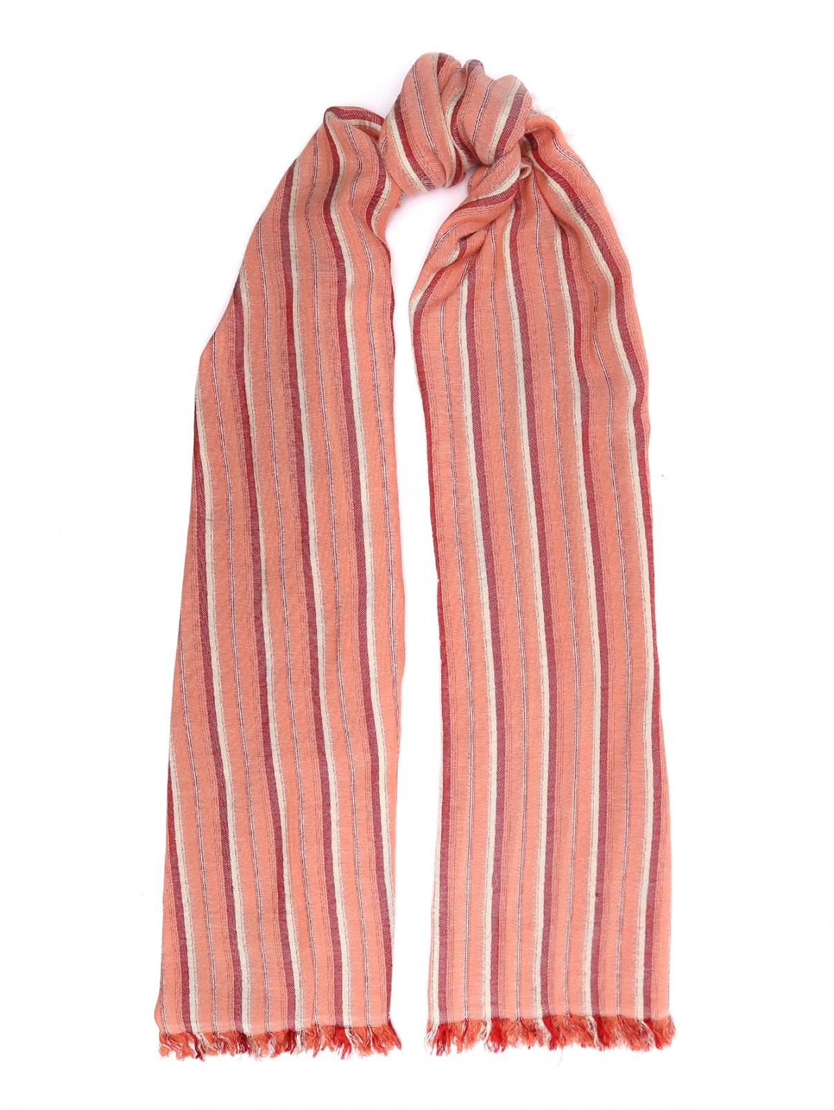 Шарф в полоску из вискозы и хлопка Max&Co  –  Общий вид  – Цвет:  Розовый