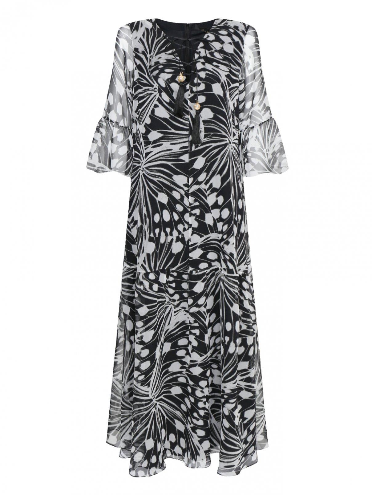 Платье из шелка свободного кроя с узором Marina Rinaldi  –  Общий вид