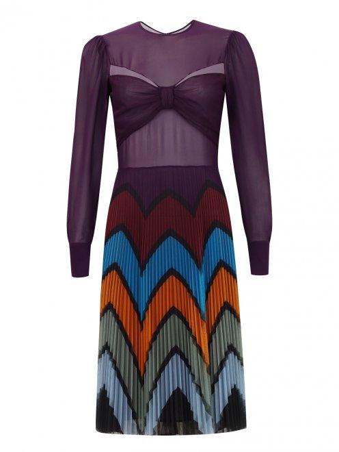 Платье-мини с плиссированной юбкой - Общий вид