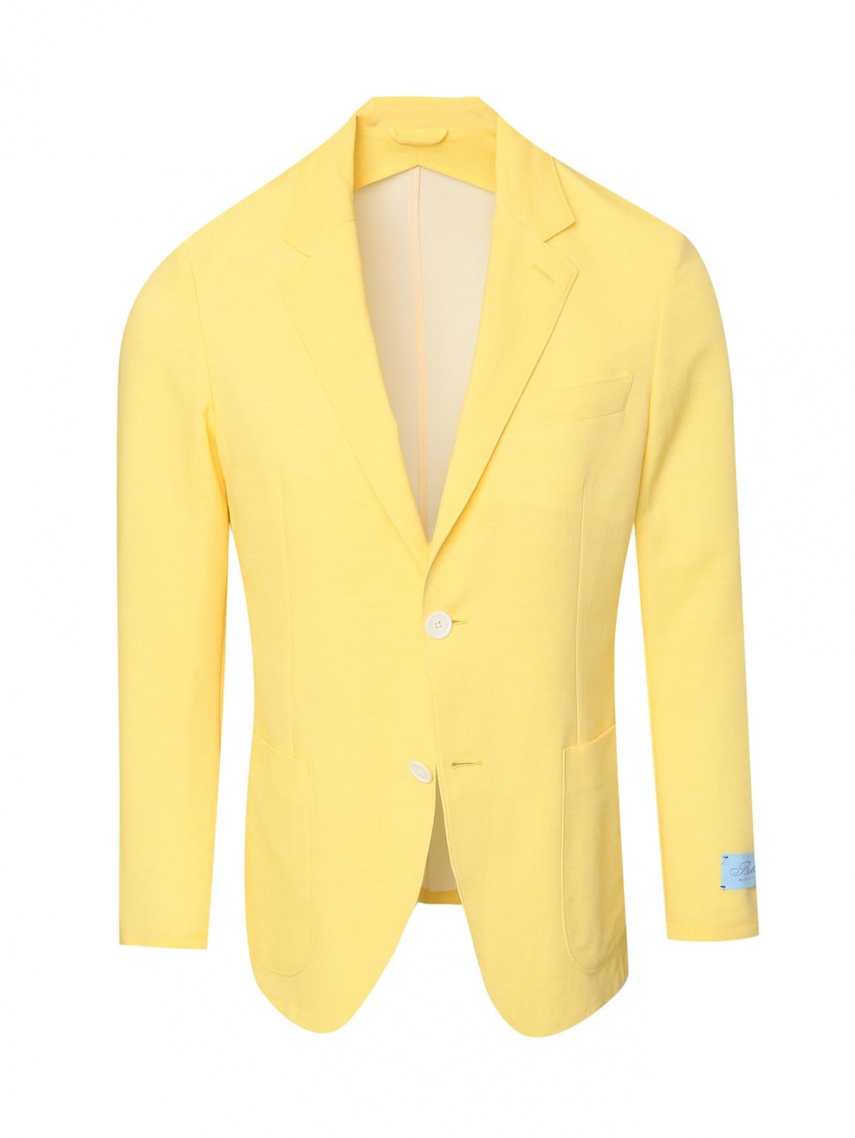 Пиджак из хлопка с накладными карманами Belvest  –  Общий вид  – Цвет:  Желтый