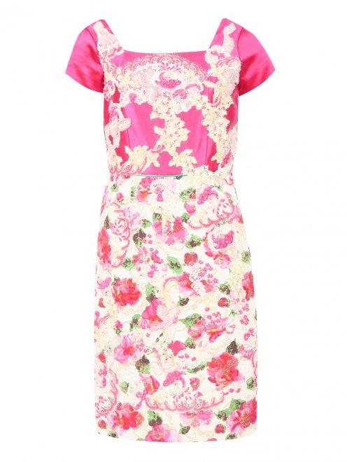 Платье из шелка с узором и декоративной отделкой - Общий вид
