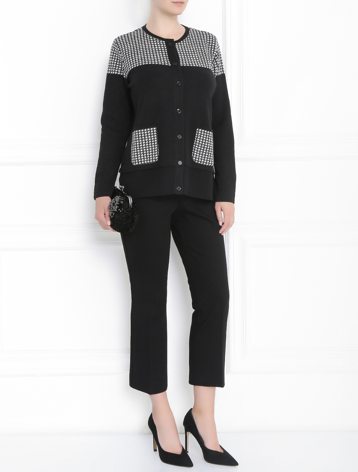 Кардиган с накладными карманами и контрастной отделкой Persona by Marina Rinaldi  –  Модель Общий вид