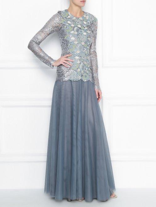 Платье-макси из кружева с декоративной аппликацией - МодельОбщийВид