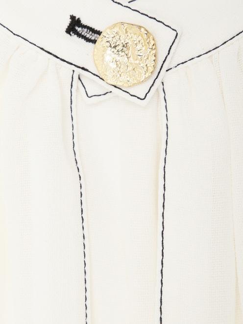 Блуза из шелка с контрастной отстрочкой  - Деталь
