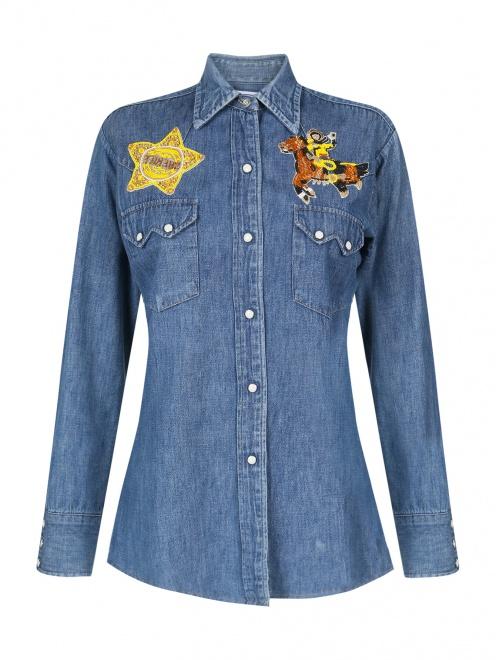 Блуза из денима с аппликацией из бисера  - Общий вид