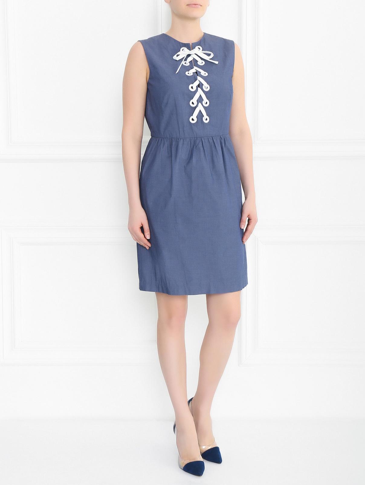 Платье из хлопка с декоративной шнуровкой Raoul  –  Модель Общий вид