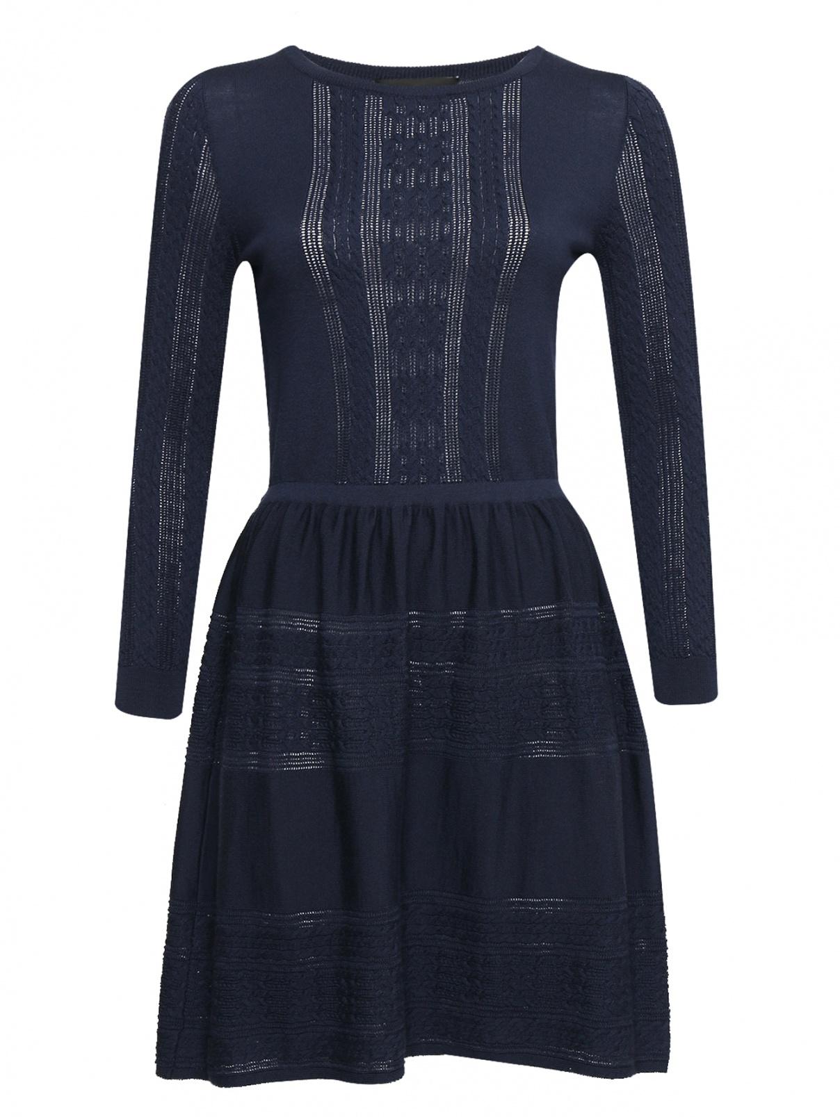 Трикотажное платье из шерсти BOUTIQUE MOSCHINO  –  Общий вид  – Цвет:  Синий