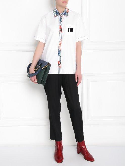 Рубашка из хлопка с коротким рукавом и контрастной отделкой - Общий вид