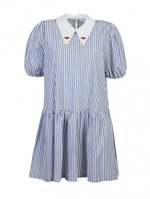 Платье из хлопка, с узором полоска  - Общий вид