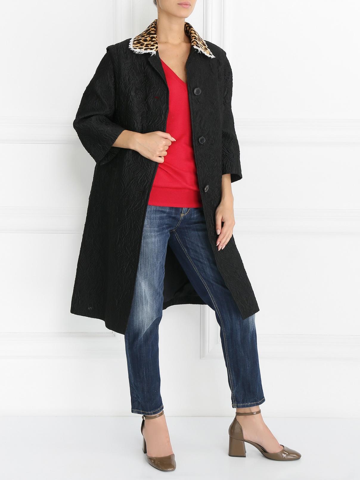 Пальто из фактурной ткани с принтом на спине Maison Margiela  –  Модель Общий вид  – Цвет:  Черный