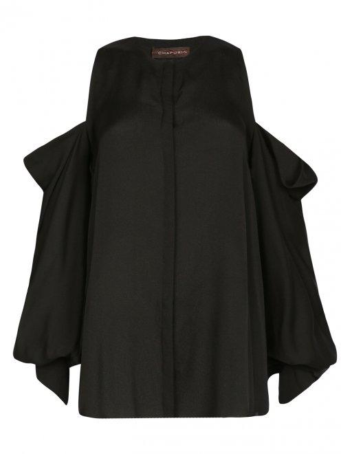 Блуза из шелка с вырезом в плечах - Общий вид