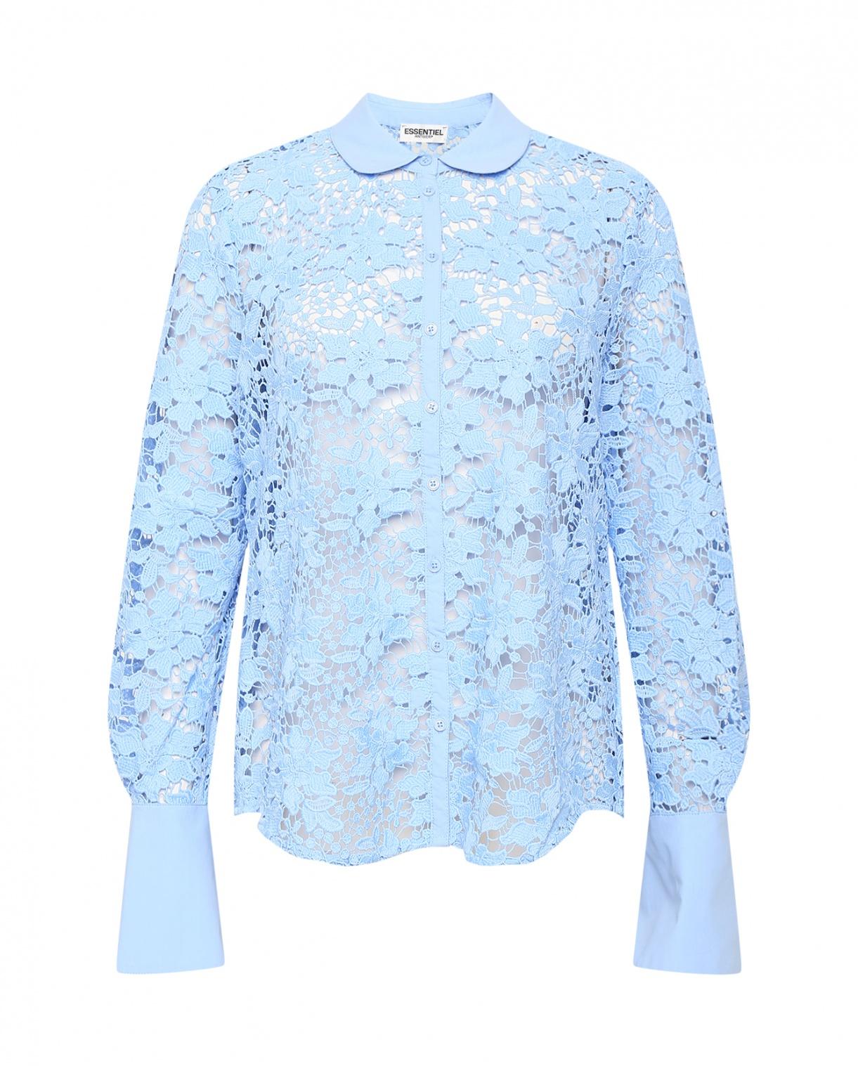 Блуза из кружева Essentiel Antwerp  –  Общий вид  – Цвет:  Синий