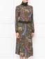 Платье-миди из шерсти с узором Etro  –  МодельВерхНиз