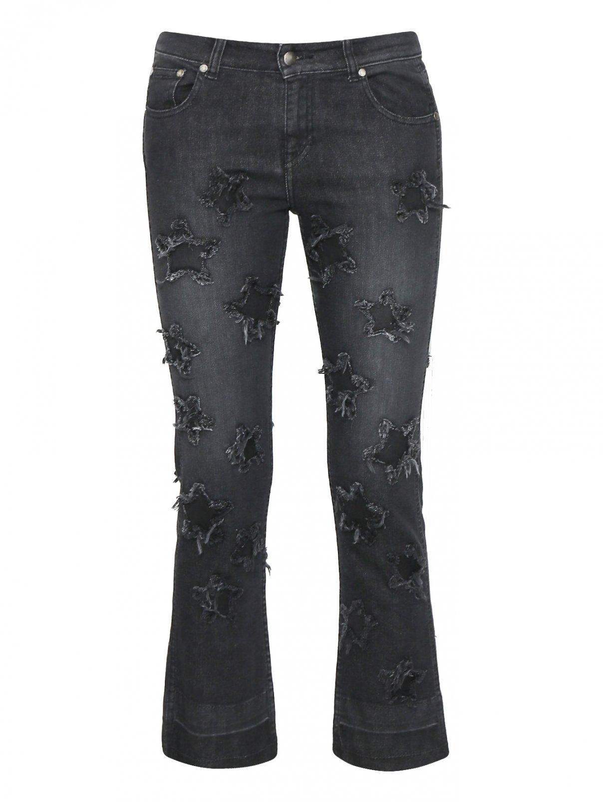 Укороченные джинсы с потертостями Essentiel Antwerp  –  Общий вид  – Цвет:  Черный