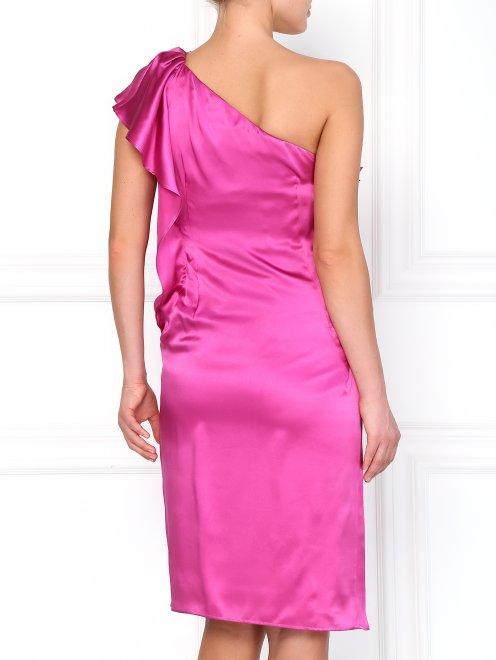 Шелковое платье с декоративным воланом - Модель Верх-Низ1