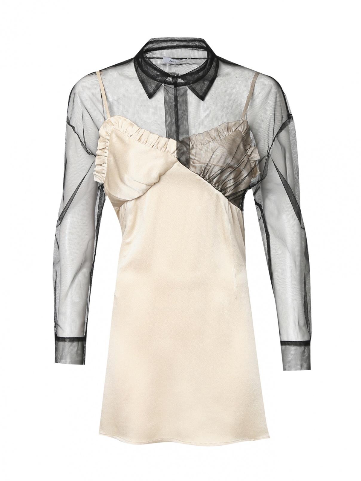 Платье-мини с рукавами из сетки Act №1  –  Общий вид  – Цвет:  Бежевый