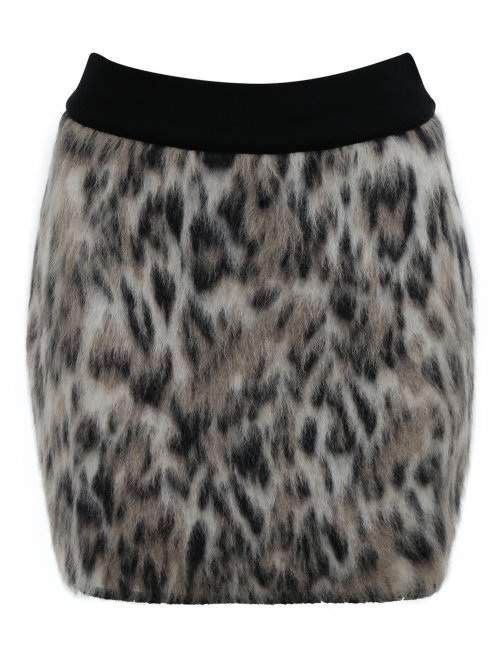 Юбка-мини из смешанной шерсти с узором - Общий вид
