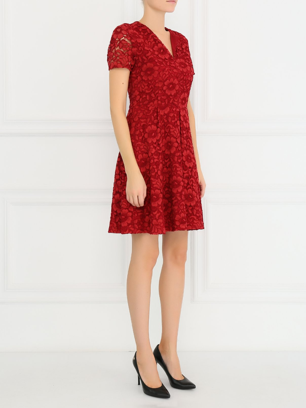 Кружевное платье с короткими рукавами Burberry  –  Модель Общий вид  – Цвет:  Красный