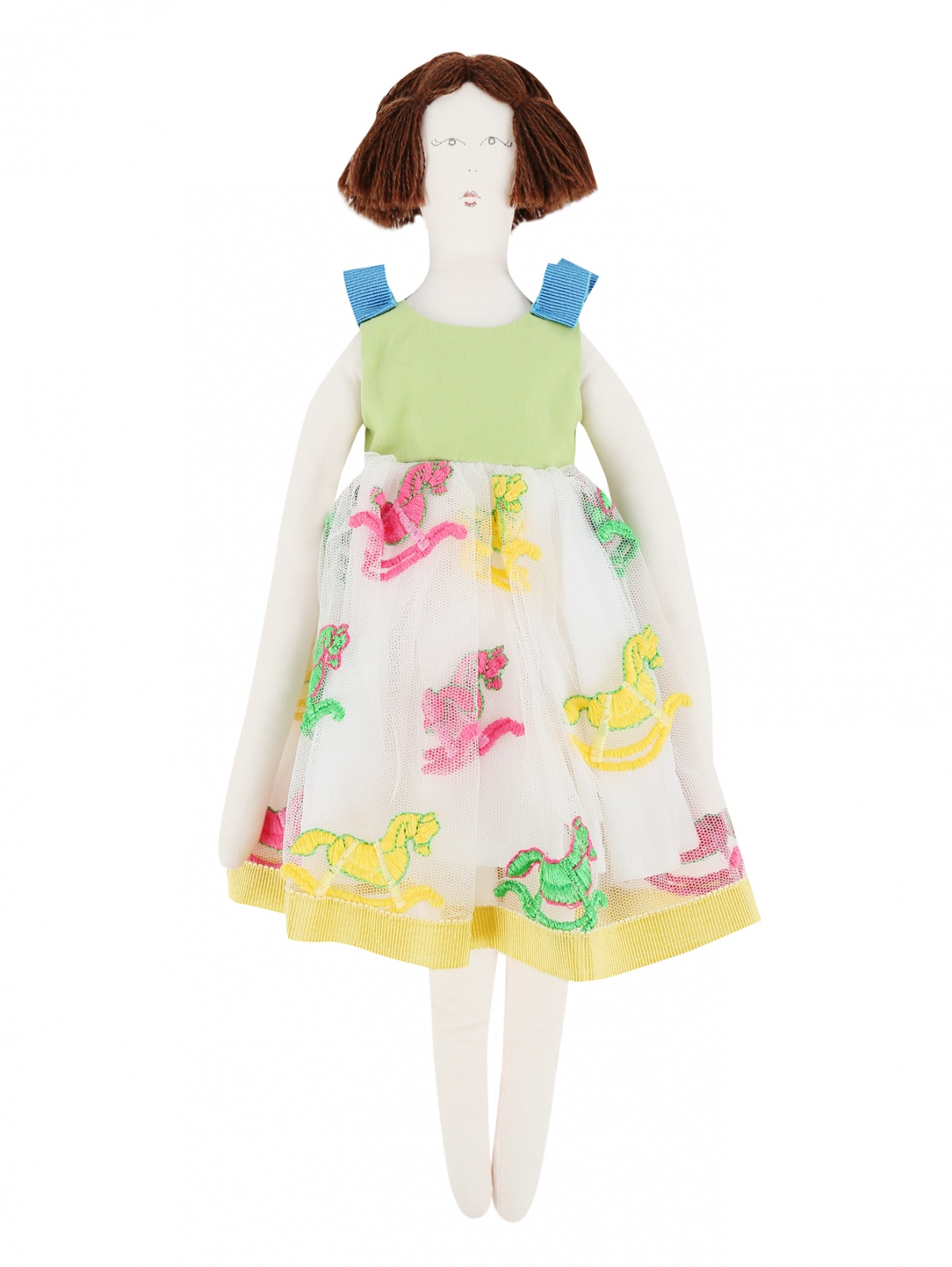 Кукла-тильда в платье с вышивкой MiMiSol  –  Общий вид  – Цвет:  Мультиколор