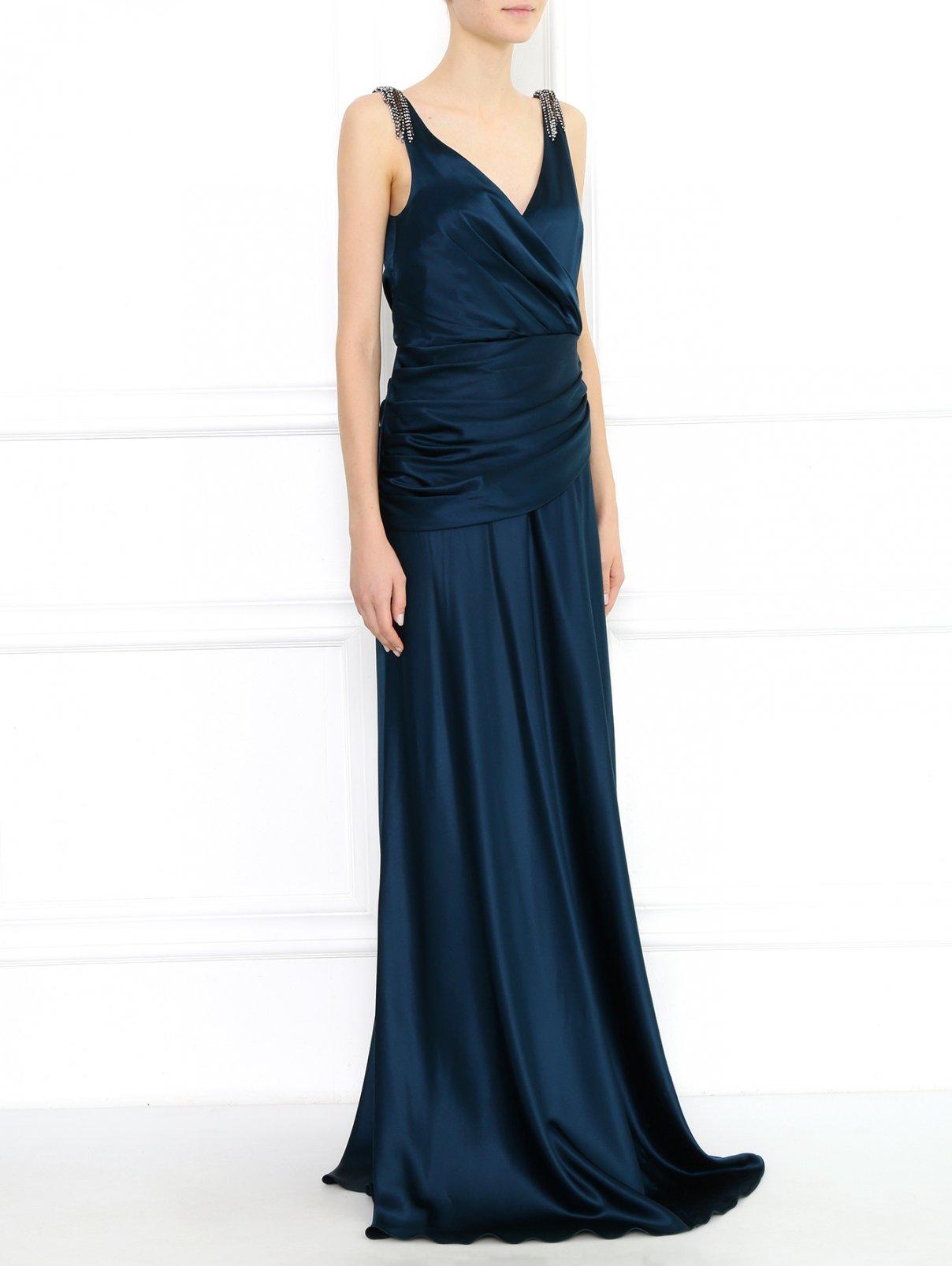 Платье-макси декорированное кристаллами Collette Dinnigan  –  Модель Общий вид  – Цвет:  Зеленый