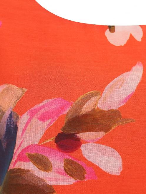 Блуза из хлопка и шелка с цветочным узором - Деталь