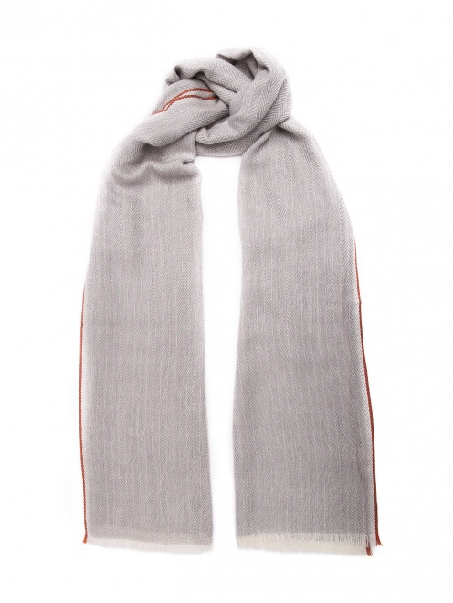 Шарф из шерсти и кашемира с узором и бахромой  - Общий вид