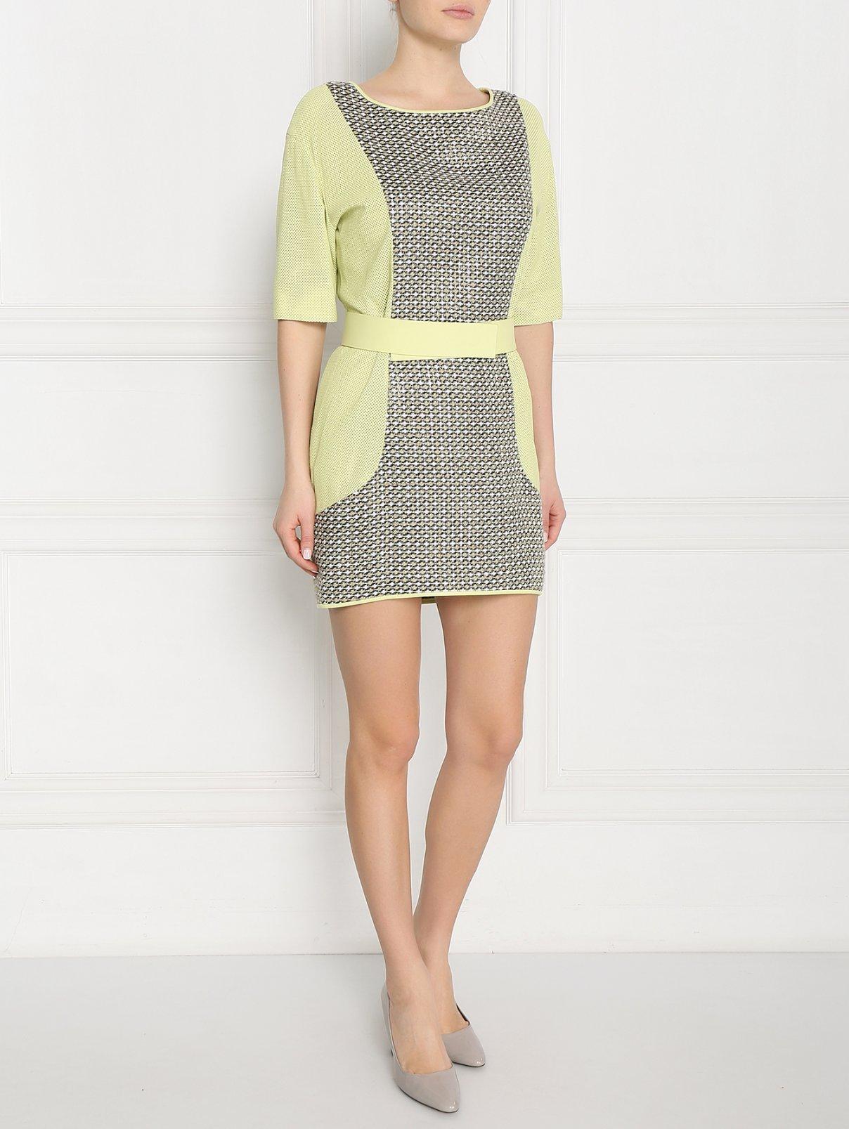Платье-мини из кожи с перфорацией и контрастной отделкой DROMe  –  Модель Общий вид  – Цвет:  Мультиколор