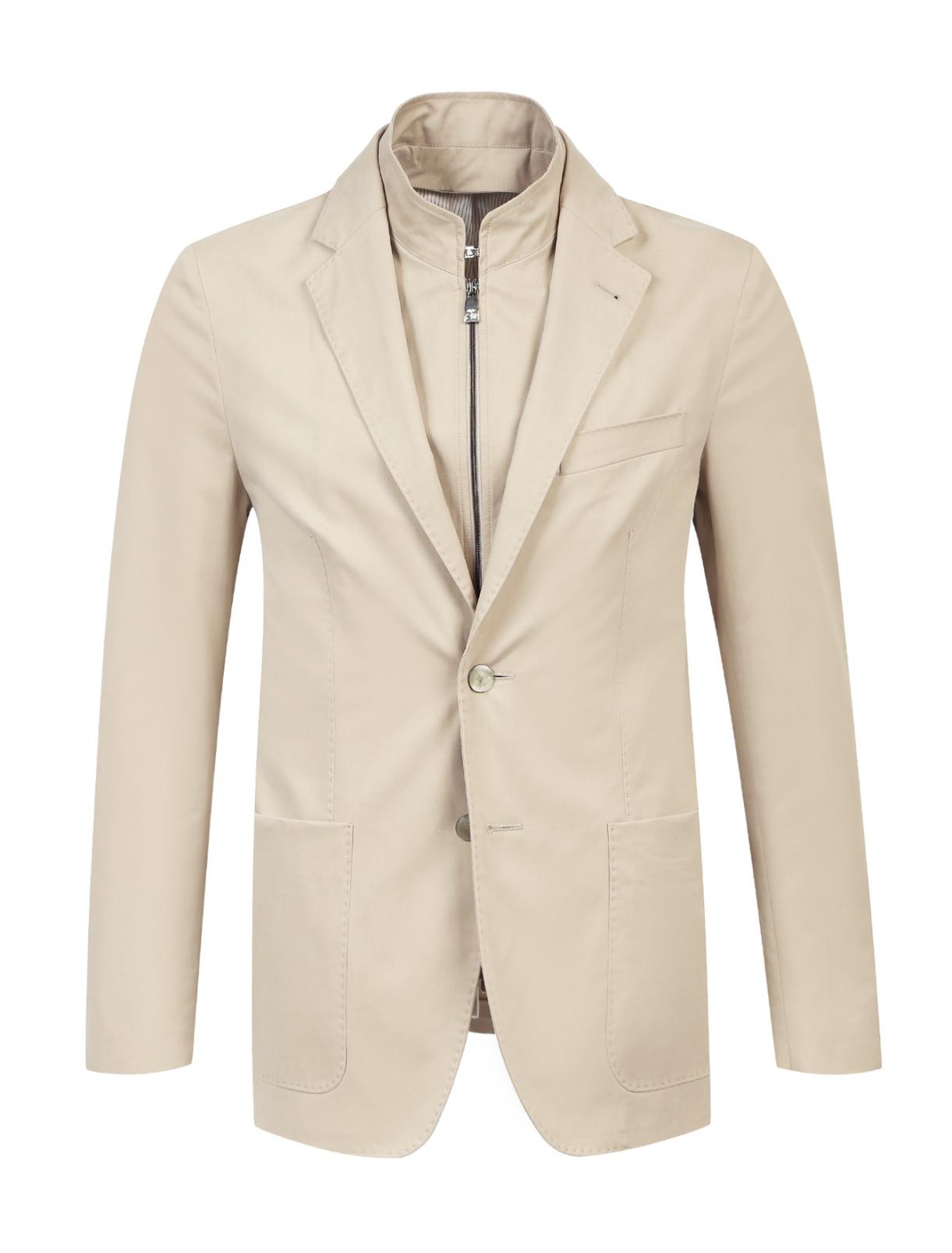 Пиджак из хлопка с отстегивающимся подкладом Corneliani ID  –  Общий вид  – Цвет:  Бежевый