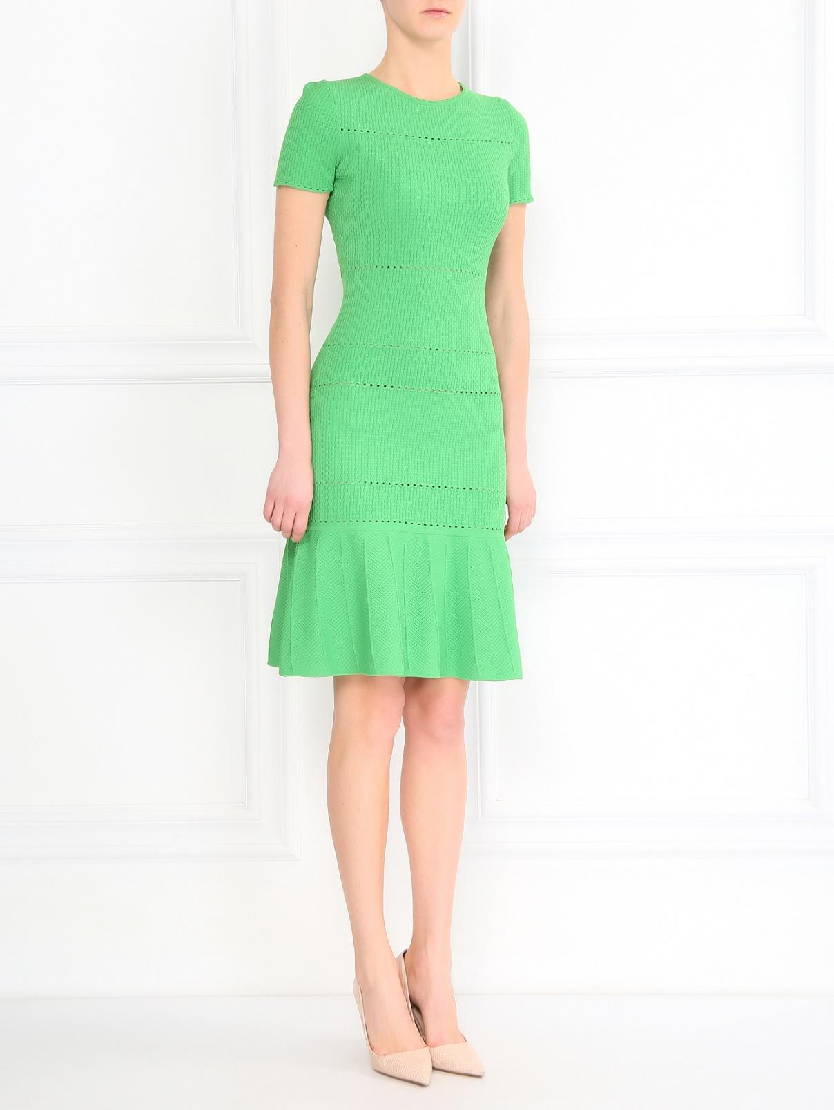 Трикотажное платье-мини N21  –  Модель Общий вид  – Цвет:  Зеленый