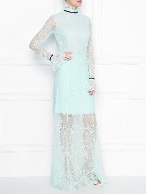 Платье-макси из кружева с контрастной отделкой - МодельОбщийВид