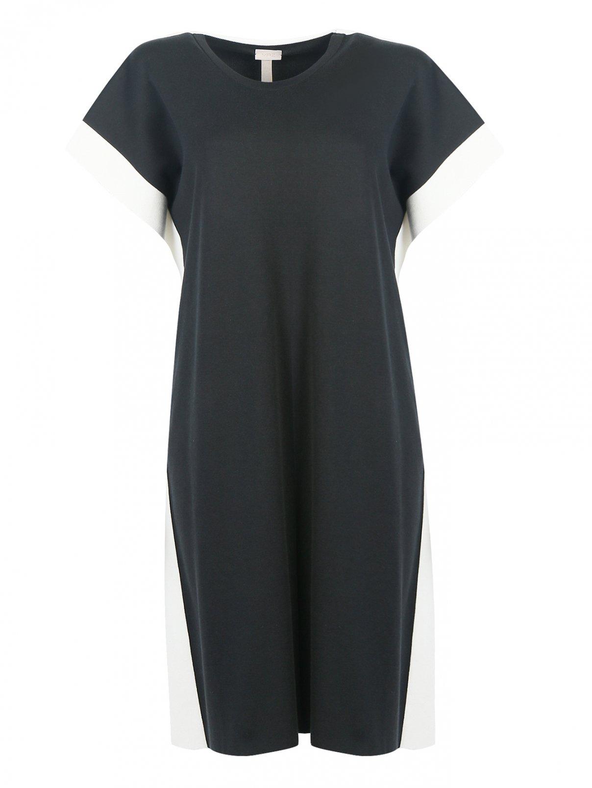 Платье из хлопка и шелка с контрастной отделкой MRZ  –  Общий вид  – Цвет:  Черный