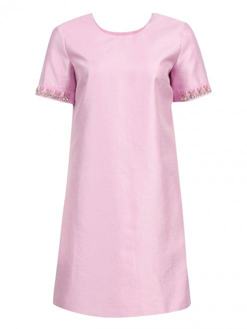 Платье из хлопка и шелка с боковыми карманами декорированное камнями - Общий вид