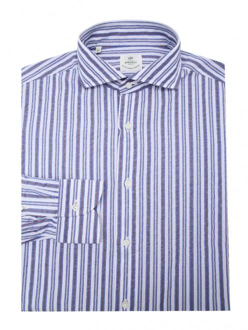 Рубашка хлопковая в полоску - Общий вид