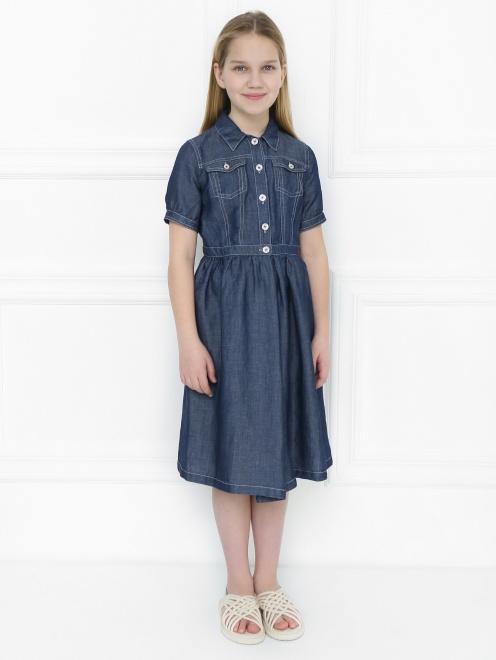 Платье-рубашка из мягкого денима - МодельВерхНиз