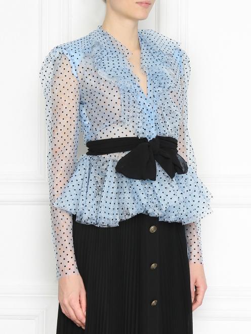 Блуза из кружева с принтом и жабо - МодельВерхНиз