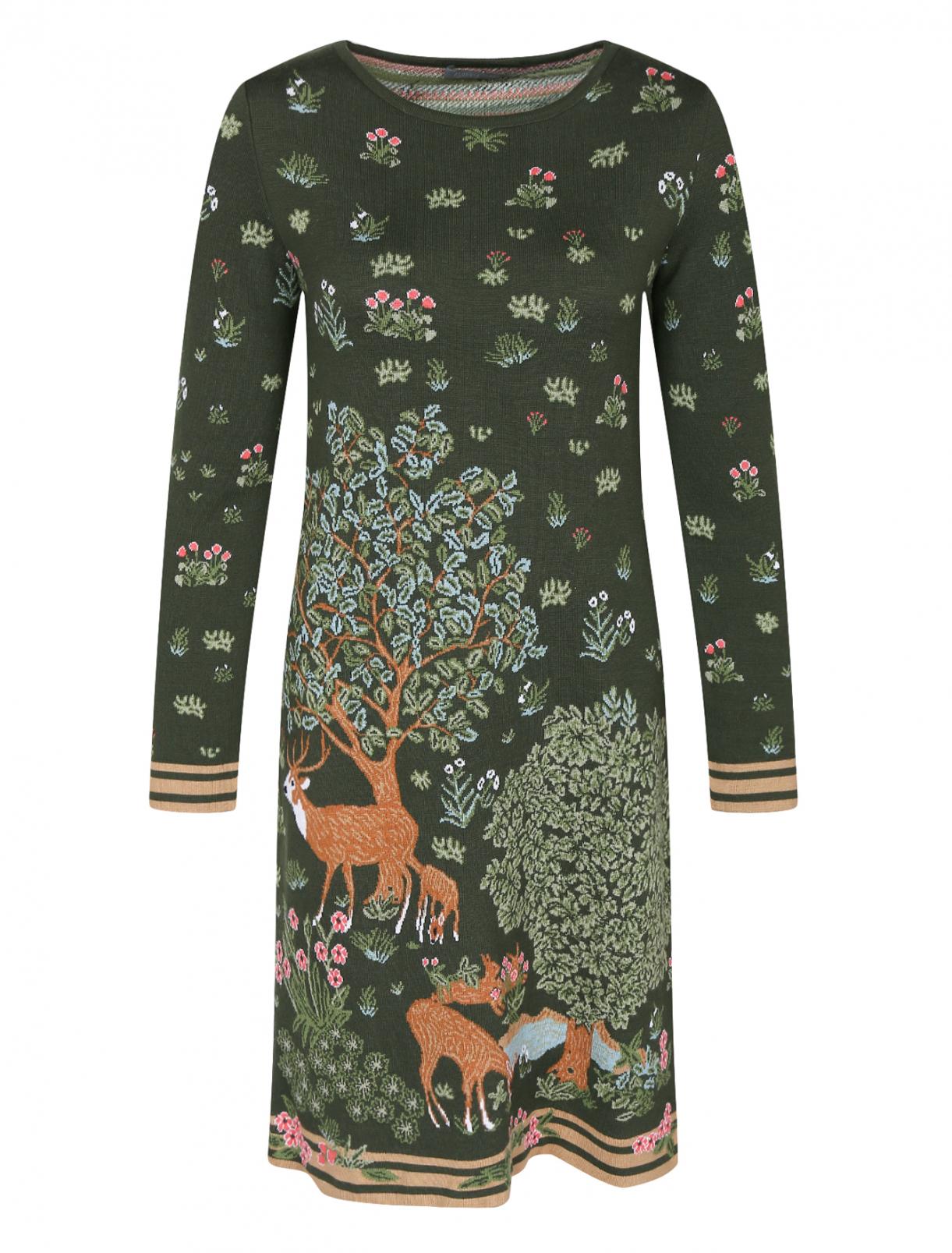 Трикотажное платье с узором Alberta Ferretti  –  Общий вид