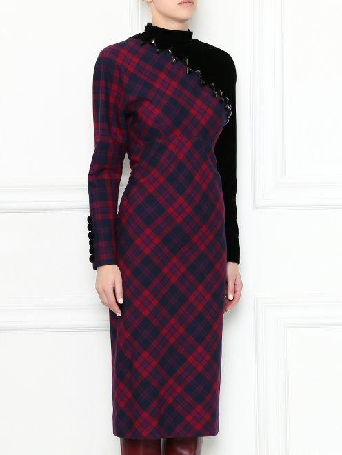 Платье-миди из шерсти с узором и декоративной отделкой - МодельВерхНиз