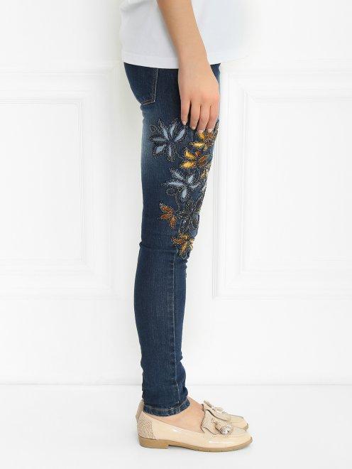 Джинсы декорированные вышивкой и бисером - Модель Верх-Низ2