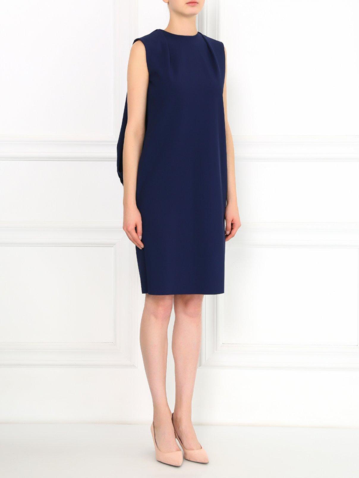 Платье-мини свободного кроя с драпировкой Greta Constantine  –  Модель Общий вид  – Цвет:  Синий