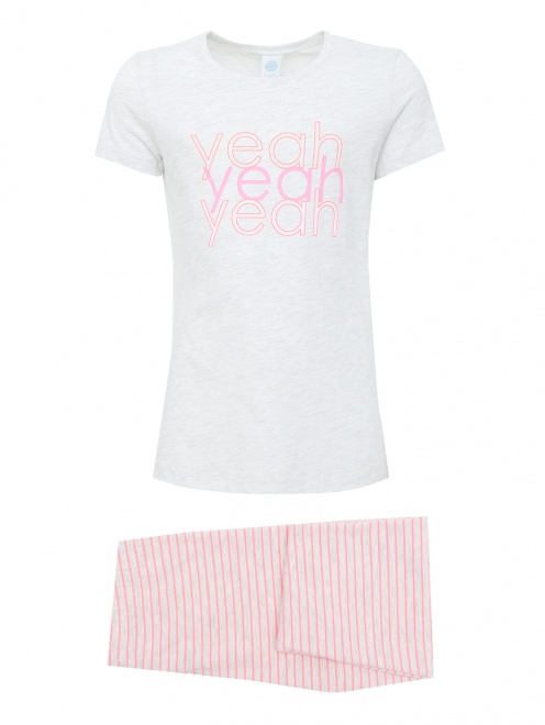 Хлопковая пижама с декором - Общий вид