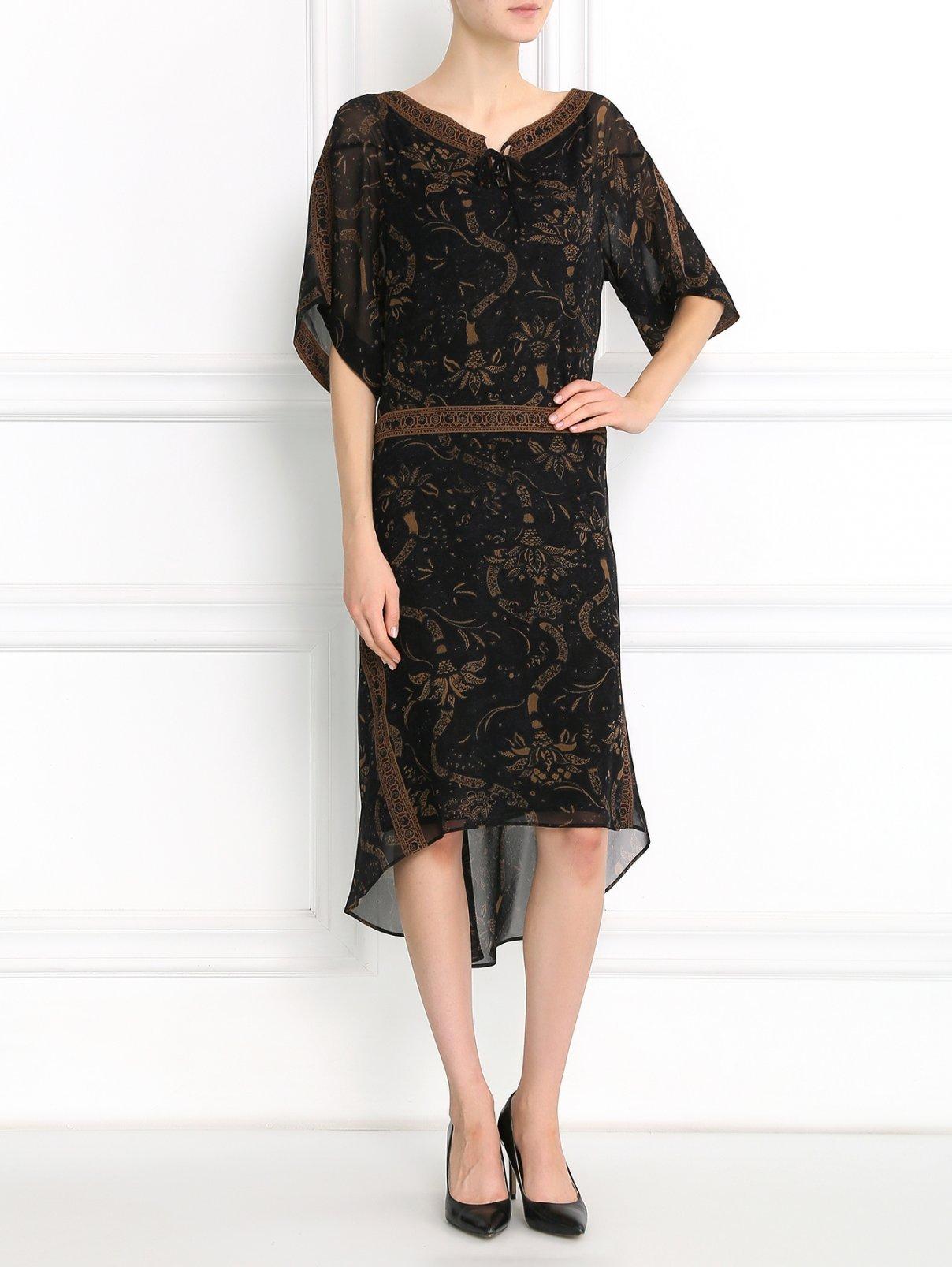 Платье-миди из шелка с асимметричным подолом Barbara Bui  –  Модель Общий вид