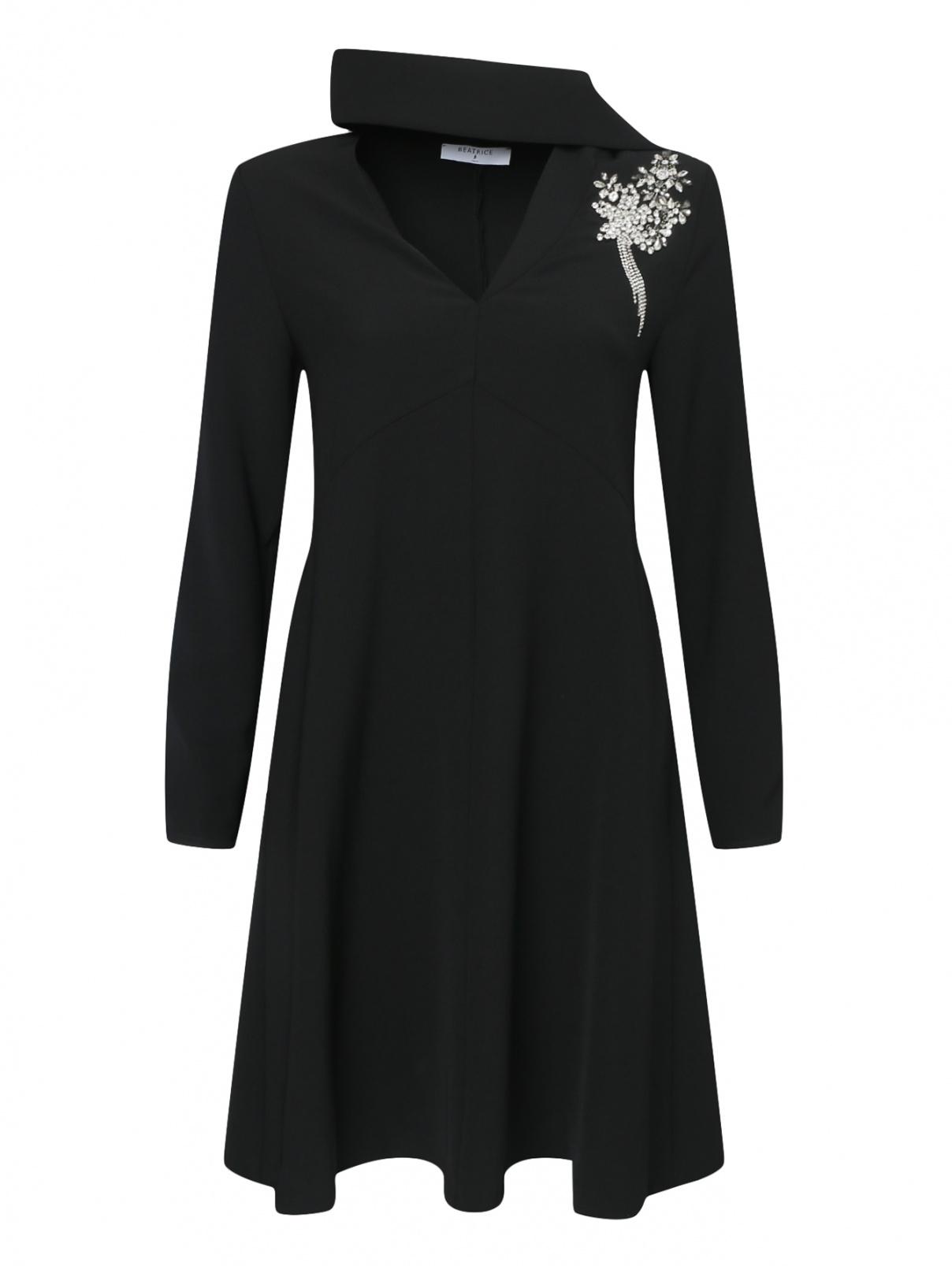 Платье-мини декорированное кристаллами Beatrice  –  Общий вид  – Цвет:  Черный