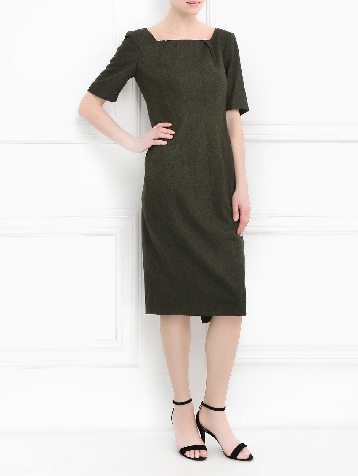 Платье-футляр из шерсти с короткими рукавами Brooks Brothers  –  Модель Общий вид