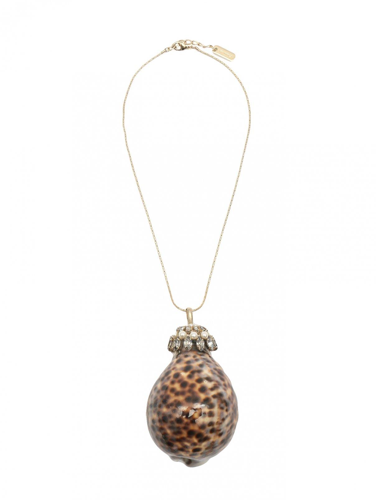 Колье с декоративной раковиной и кристаллами Etro  –  Общий вид  – Цвет:  Узор