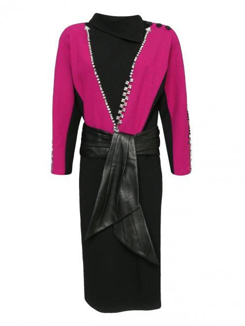 Платье-миди из шерсти с декоративной отделкой - Общий вид