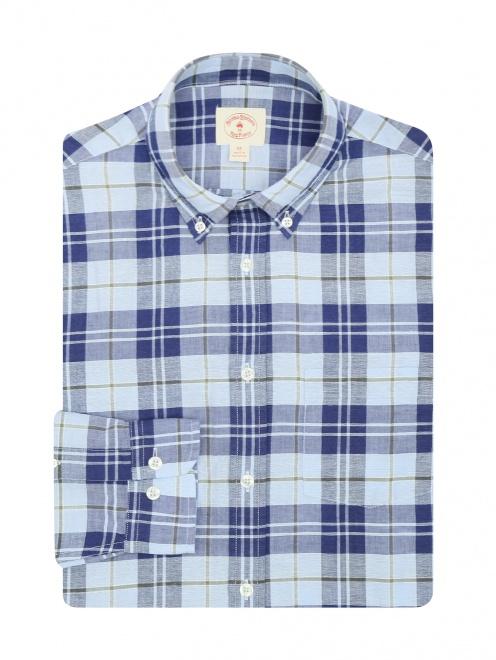 Рубашка из хлопка и льна с узором - Общий вид