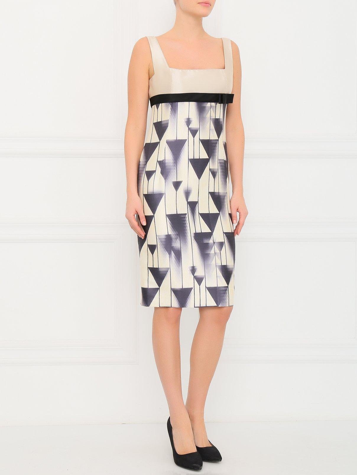 Платье-футляр без рукавов 6267  –  Модель Общий вид  – Цвет:  Бежевый