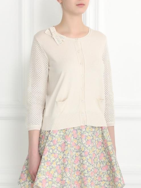Кардиган из шелка и хлопка с плетеными рукавами - Модель Верх-Низ